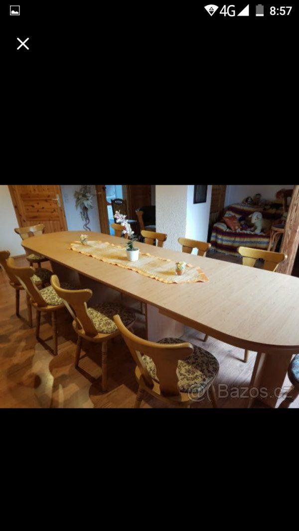 náhled Masivní Rozkládací stůl a 10 židlí selskeho stylu