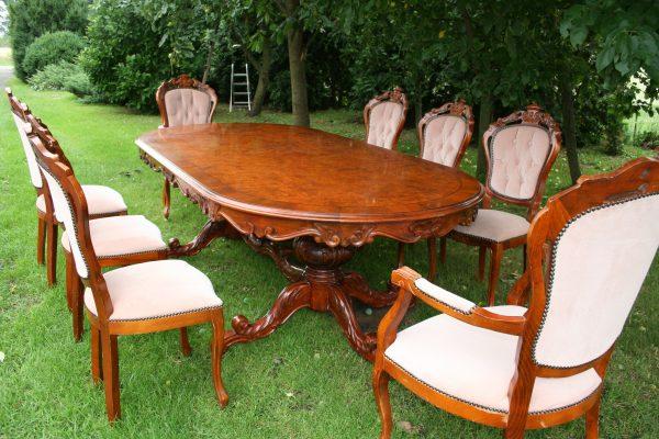 náhled Jídelní starožitná souprava se stolem 2,5m +8 židlí - JS91