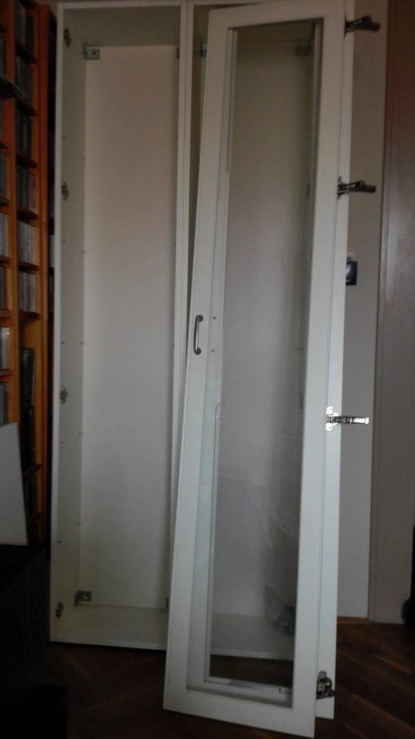 náhled Dvojitá skříň s poličkami, bílá, výška 2 m, šířka 40 cm, hloubka 25 cm