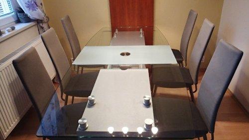 náhled stůl jídelní skleněný, dřevěná noha