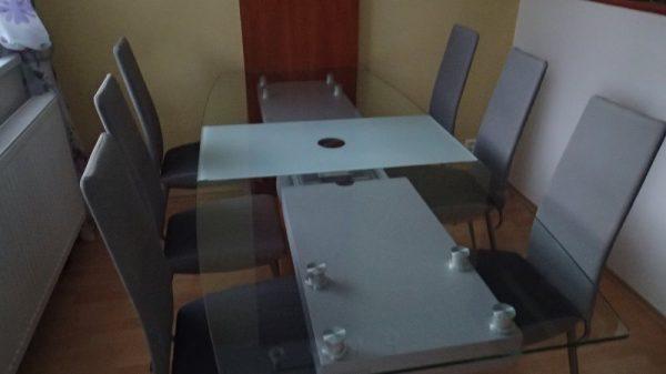 náhled stůl jídelní skleněný, dřevěná noha středová