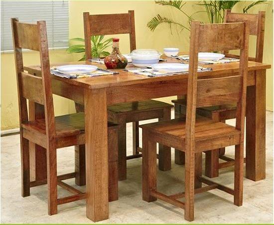 náhled Stůl a šest židlí z masivu - nové